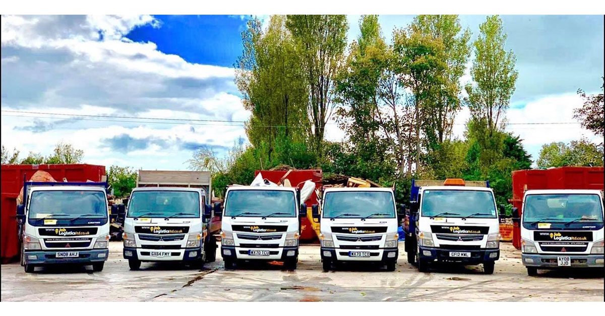 Waste collection trucks at Blackpool Job Logistics Ltd