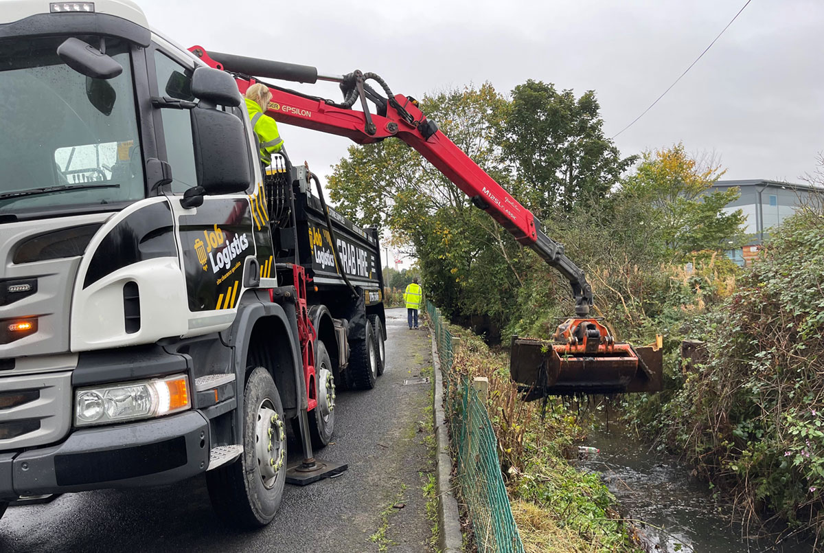 Blocked watercourse ditch clearance.